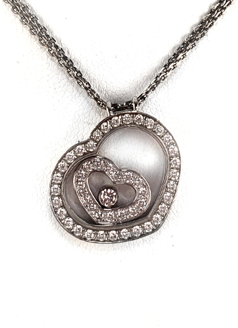 "Chopard ""Happy Spirit"" Floating Diamond Heart Pendant"