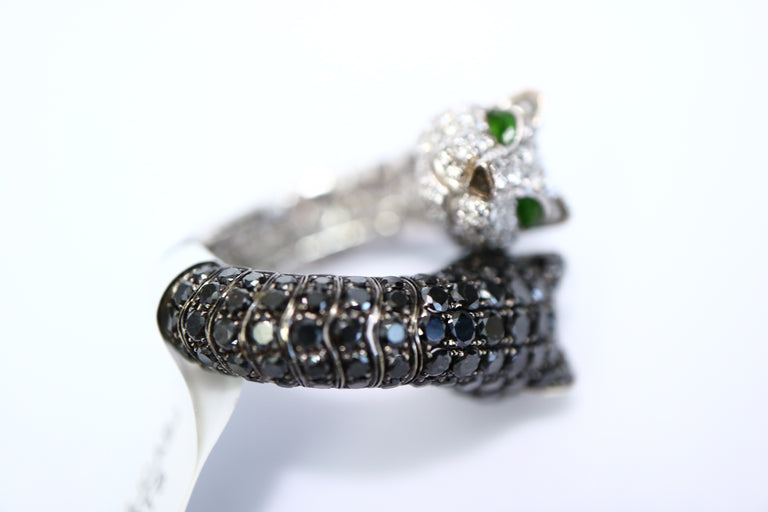 Panther Black & White Diamond Ring
