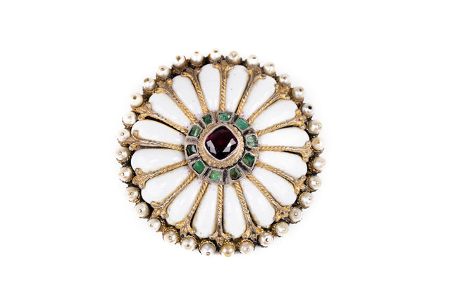 Antique Emerald and Garnet Brooch
