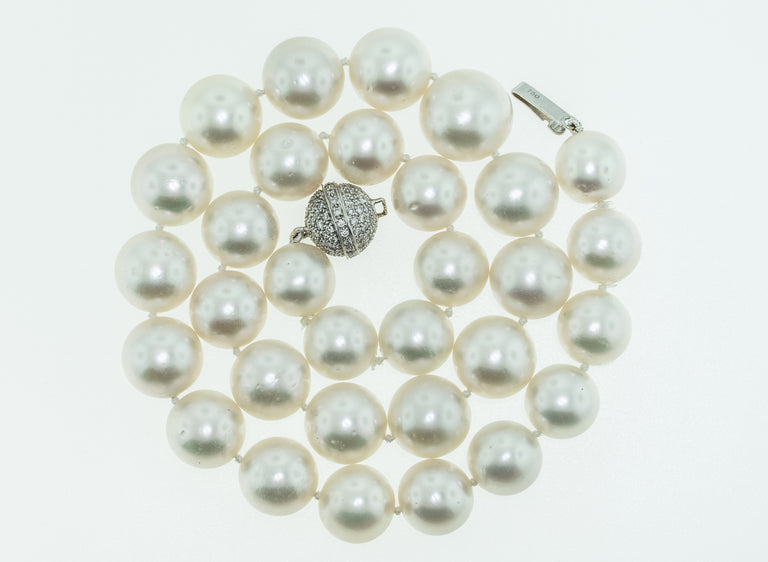 South Sea Graduated Pearl Necklace with 18K White Gold Diamond Clasp
