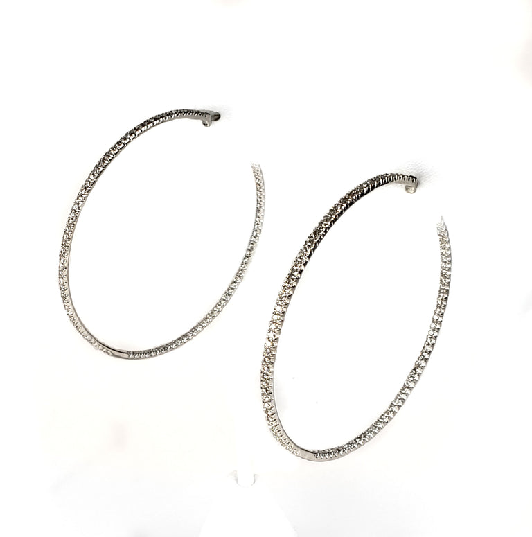 18kt Gold Diamond Hoop Earrings
