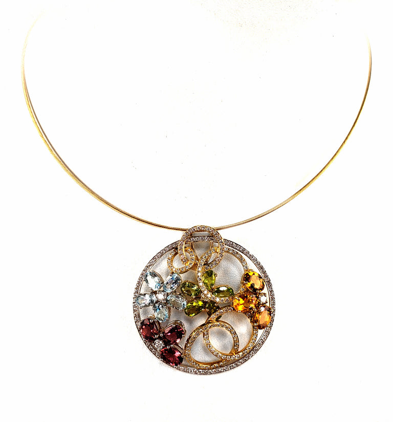 Colorful Floral Pendant