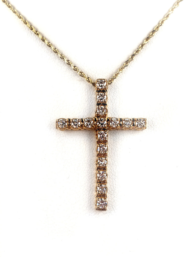 14kt Gold Diamond Cross