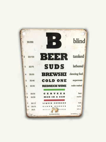 Beer Eye Chart Sign