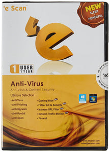 eScan Anti-Virus with Total Protection Version XNUMX - XNUMX PC, XNUMX Year (Digital)
