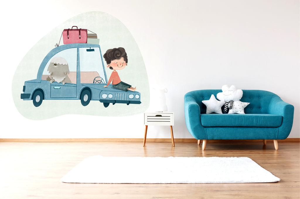 A Boy and Car wall sticker wall decoration wall decals wall decal vinyl sticker vinyl room decoration kids room kids decoration kids decal