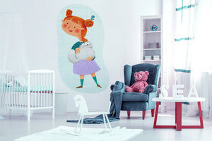 A Little Girl With Cat wall sticker wall decoration wall decals wall decal vinyl sticker vinyl room decoration kids room kids decoration kids decal