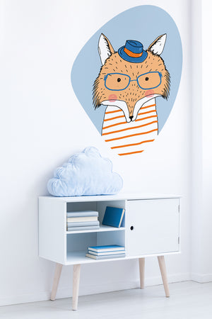 A Fox With Glasses wall sticker wall decoration wall decals wall decal vinyl sticker vinyl room decoration kids room kids decoration kids decal