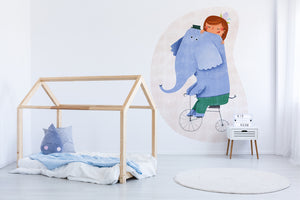 Girl With Her Elephant wall sticker wall decoration wall decals wall decal vinyl sticker vinyl room decoration kids room kids decoration kids decal