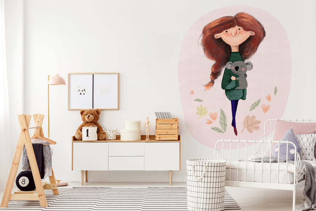 A Girl and Koala wall sticker wall decoration wall decals wall decal vinyl sticker vinyl room decoration kids room kids decoration kids decal