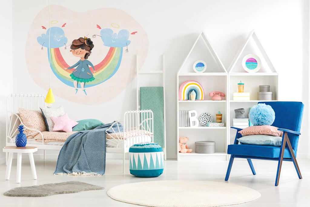 A Girl on Rainbow wall sticker wall decoration wall decals wall decal vinyl sticker vinyl room decoration kids room kids decoration kids decal