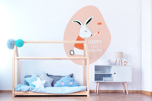 The Happy Bunny wall sticker wall decoration wall decals wall decal vinyl sticker vinyl room decoration kids room kids decoration kids decal