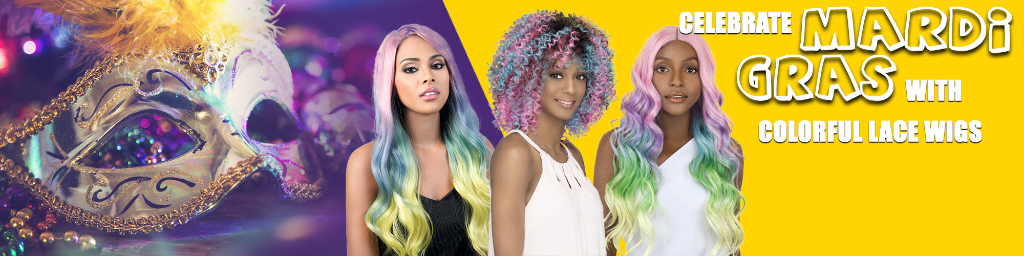 mardi gras color wigs