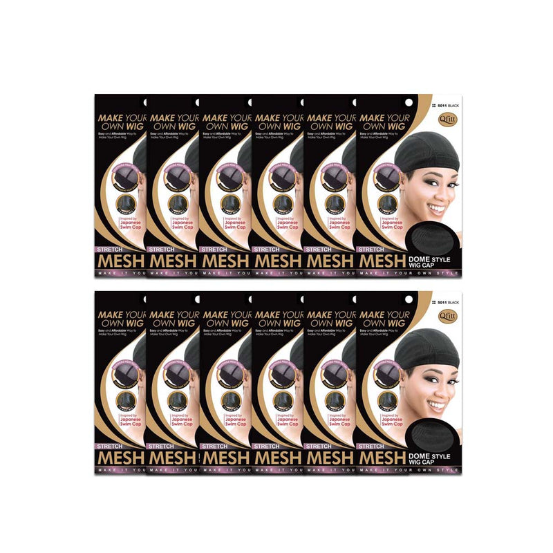 (12 Pack) Qfitt Stretch Mesh Dome Style Wig Cap