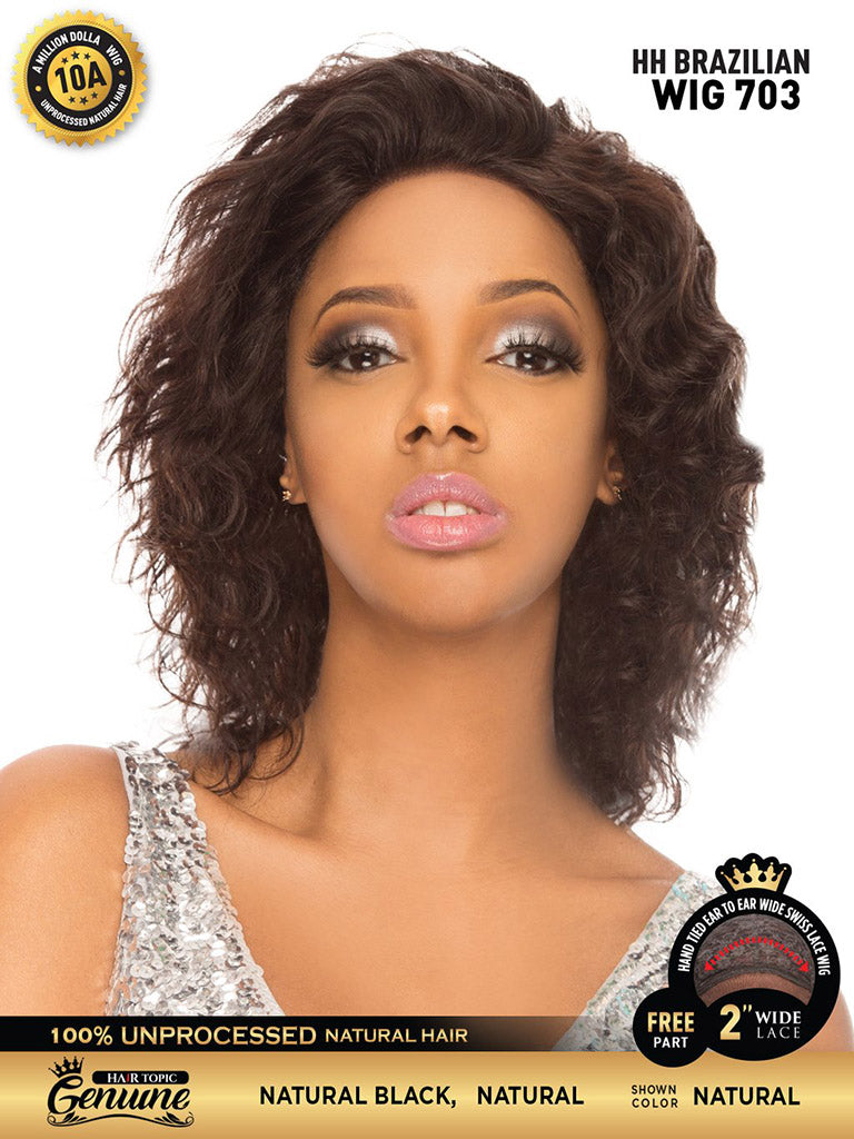 Hair Topic Genuine Brazilian Human Hair Lace Wig 703 - Hair Crown Beauty Supply