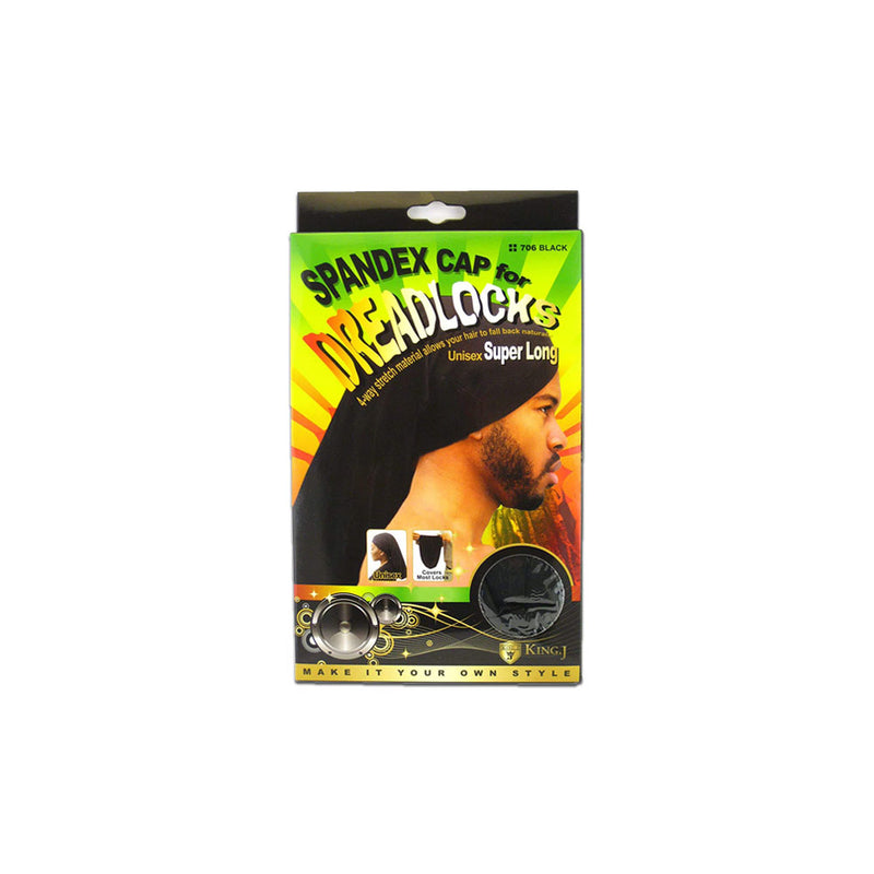 King J Super Long Unisex Spandex Cap For Dreadlocks 706 BLACK | Hair Crown Beauty Supply