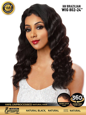 "Hair Topic Genuine Brazilian Human Hair 360 Lace Wig 802 24"" - Hair Crown Beauty Supply"