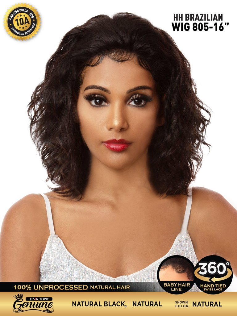 "Hair Topic Genuine Brazilian Human Hair 360 Lace Wig 805 16"" - Hair Crown Beauty Supply"