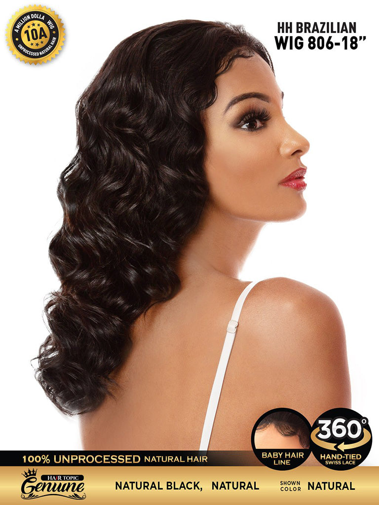 "Hair Topic Genuine Brazilian Human Hair 360 Lace Wig 806 18"" - Hair Crown Beauty Supply"
