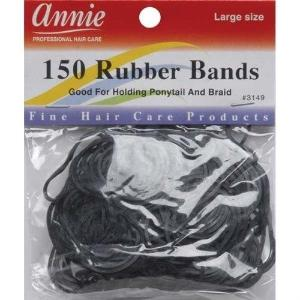 ANNIE 150 RUBBER BANDS #3149 LARGE SIZE BLACK - Hair Crown Beauty Supply