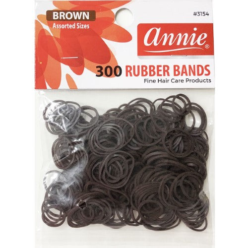Annie 300 Rubber Bands Assorted Size Brown #3154 - Hair Crown Beauty Supply