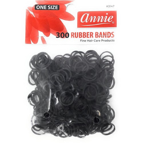 Annie 300 Rubber Bands Small One Size 1/2' Black - Hair Crown Beauty Supply