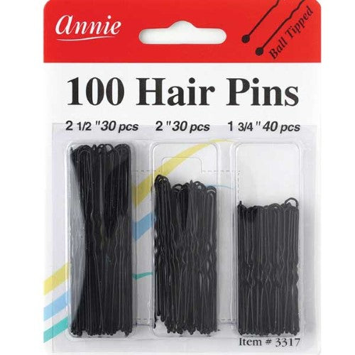 Annie Hair Pins Assorted Size BLACK 100pc - Hair Crown Beauty Supply