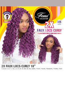 "Femi 2X Faux Locs Curly 18"" 1B - Hair Crown Beauty Supply"