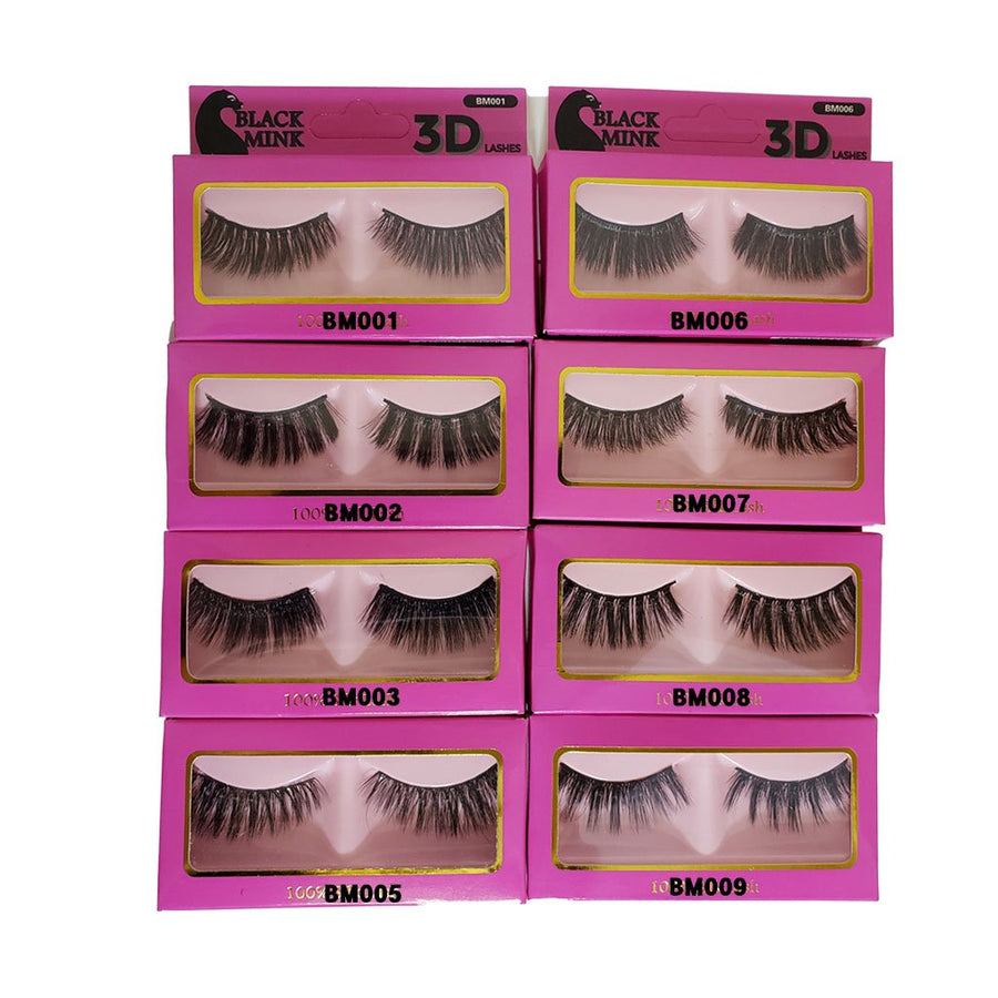 (12 Pack) Black Mink 3D Lashes - Hair Crown Beauty Supply