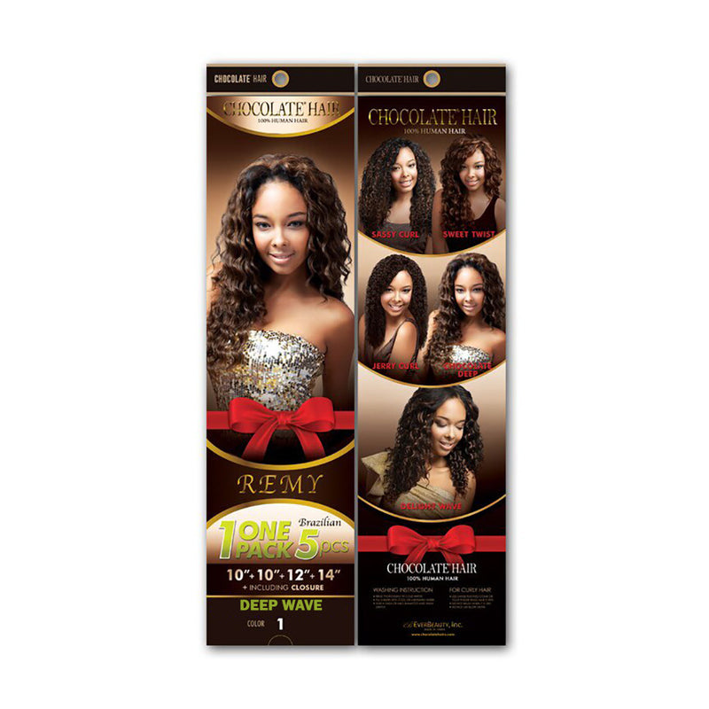 DEEP WAVE Chocolate 100% Human Hair Weave Remy Brazilian 1 Pack 5pcs
