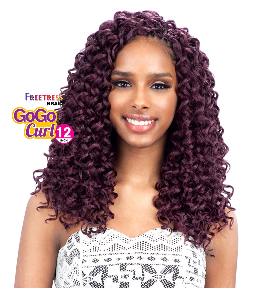 "(4 Pack) FreeTress Crochet Braid GoGo Curl 12"" - Hair Crown Beauty Supply"