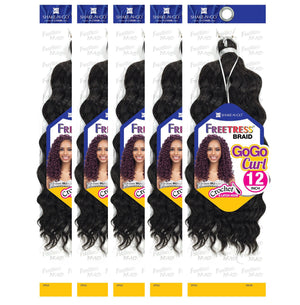 "(5 Pack) FreeTress Crochet Braid GoGo Curl 12"" - Hair Crown Beauty Supply"