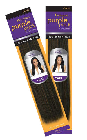 "(2 Pack) Outre Premium Purple Pack Human Hair Yaki 18"" - Hair Crown Beauty Supply"