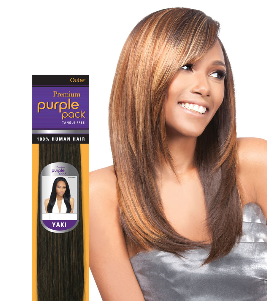 "Outre Premium Purple Pack Yaki 100% Human Hair (10""-18"") - Hair Crown Beauty Supply"