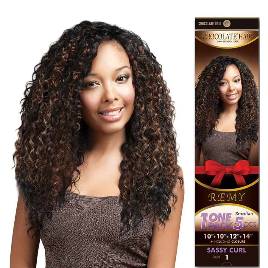 SASSY CURL Chocolate 100% Human Hair Weave Remy Brazilian 1 Pack 5pcs