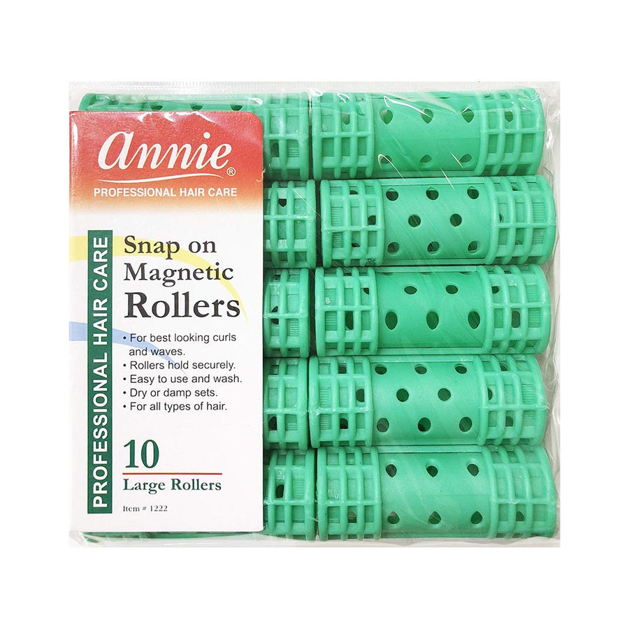 Annie #1222 Snap On Magnetic Rollers LARGE (10CT)