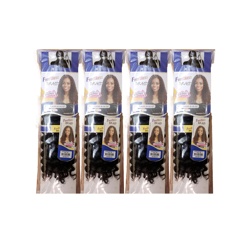 (4 Pack) FreeTress Water Wave Bulk 12 Inch - Hair Crown Beauty Supply