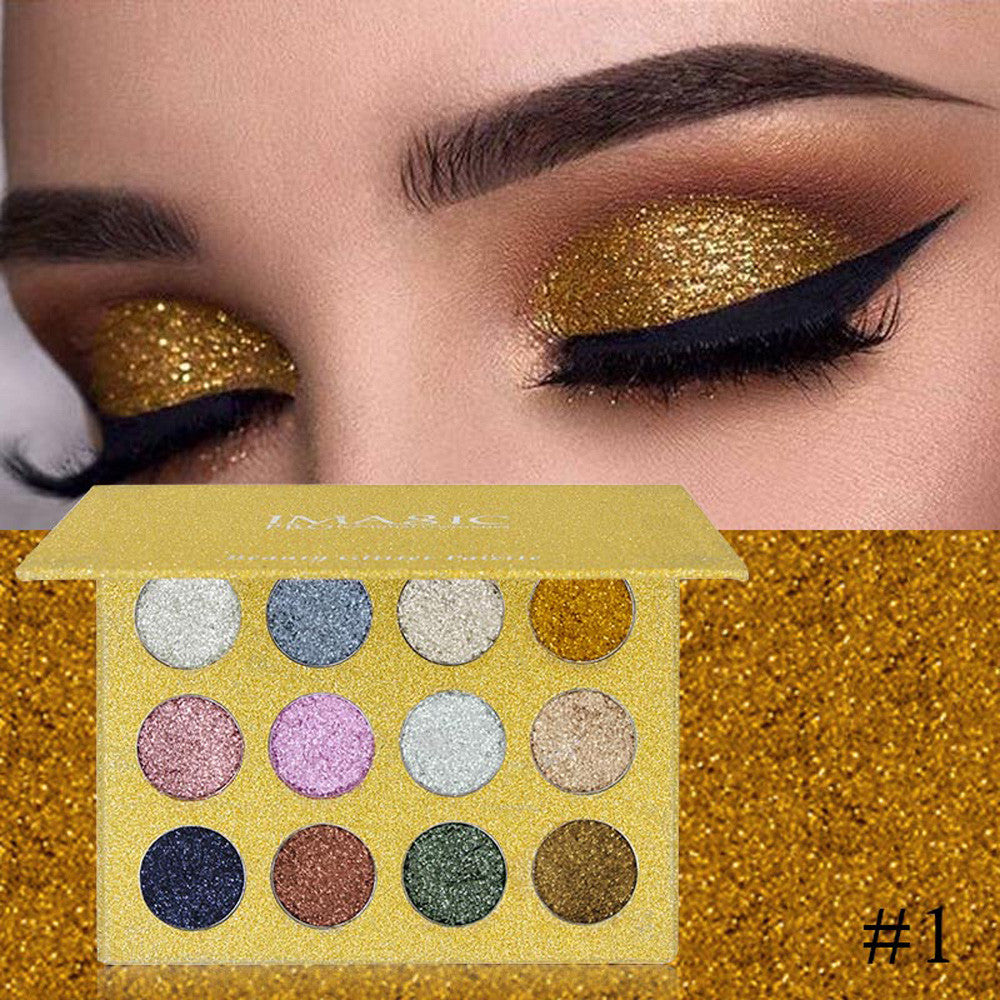 Pressed glitter eyeshadow palette - Royalty - 12 colours