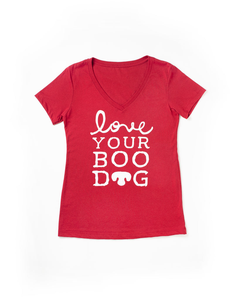 Love Your Boo Dog Women's V Neck Tee