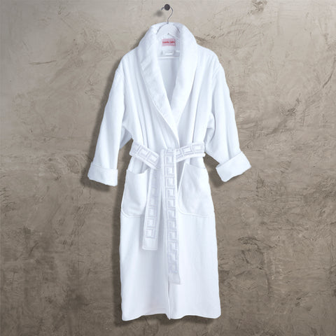 White CJ Shawl Collar Robe with Belt