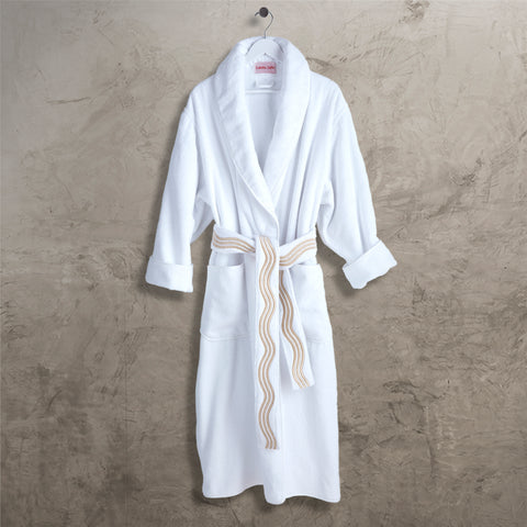 Ivory Onde Shawl Collar Robe with Belt