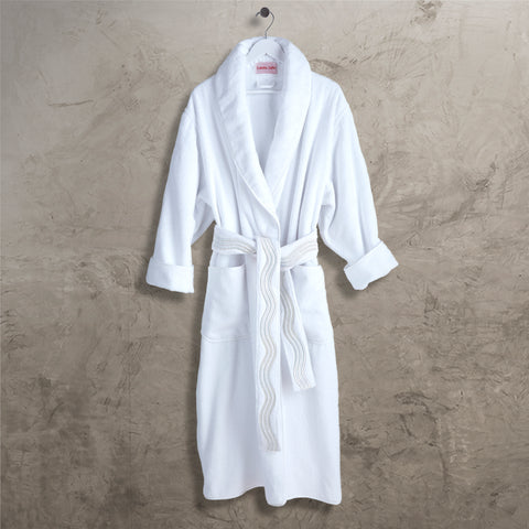 White Onde Shawl Collar Robe with Belt