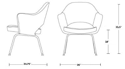 Saarinen Executive Armchair - Wooden legs