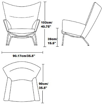 Hans Wegner Wing Chair dimension