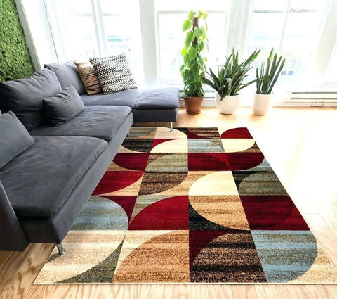 eclectic geometric pattern rug