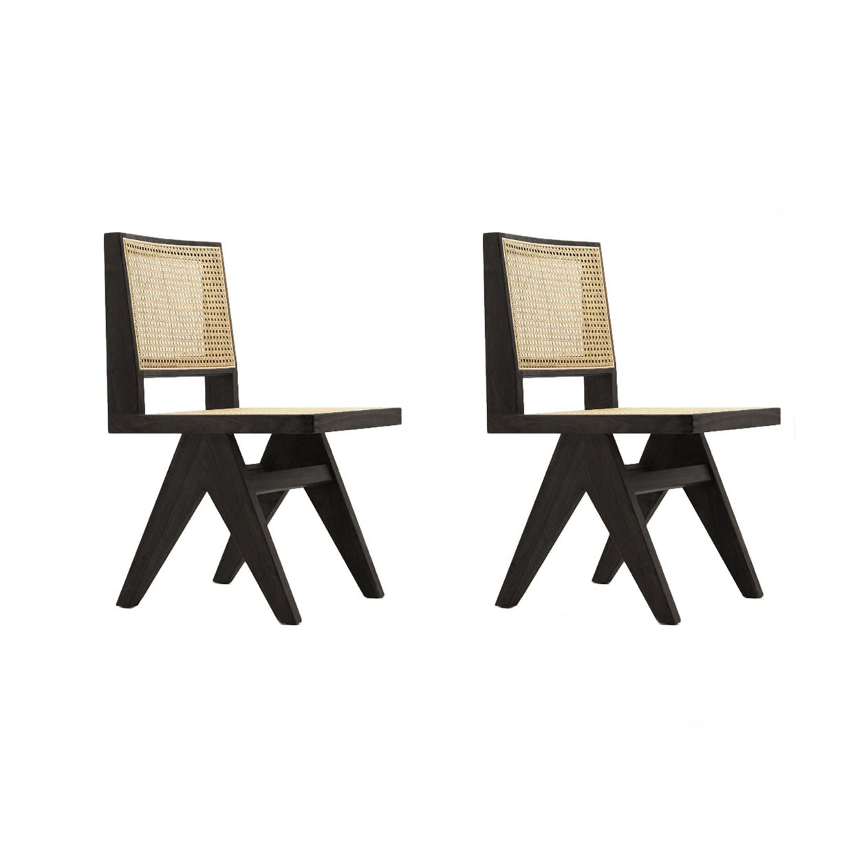 Pierre Jeanneret Set of Two Dining Chair - Black Stain