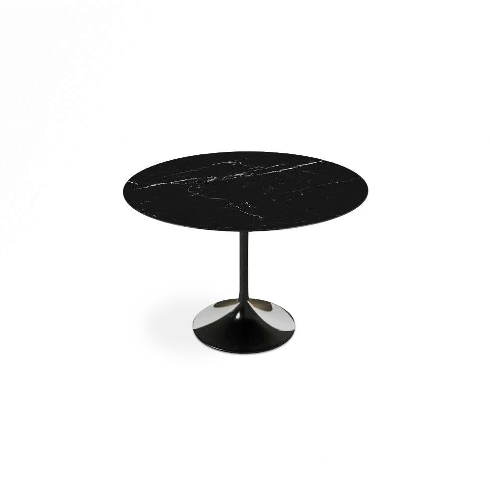 Black Carrara Marble Tulip Dining Table - Round - EternityModern