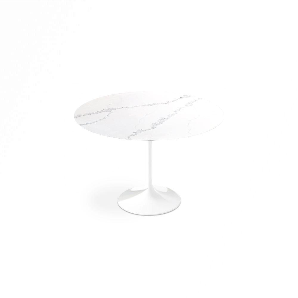 Carrara Nuvo Calacatta Quartz<sup>&copy;</sup> Tulip Dining Table - Round - EternityModern