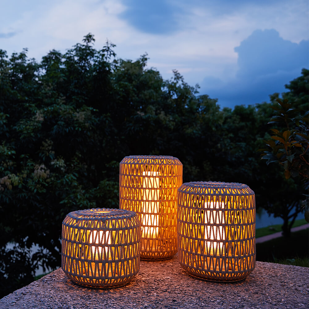 Nanton Outdoor Patio Wicker Lantern Set
