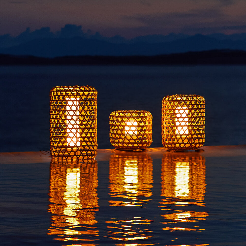 Bentall Outdoor Garden Wicker Lantern Set